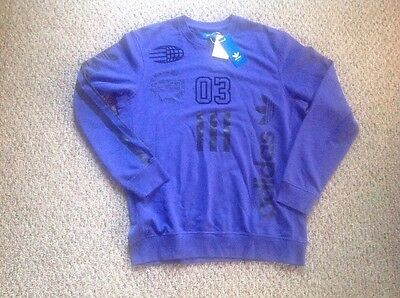 Adidas Originals Sports LOGOS Crew Sweatshirt Purple Black Men's Large New! ()
