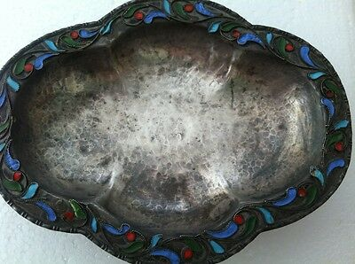 Vintage 1000 Silver Hand Hammered Cloisonne Enamel Footed Dish Bowl