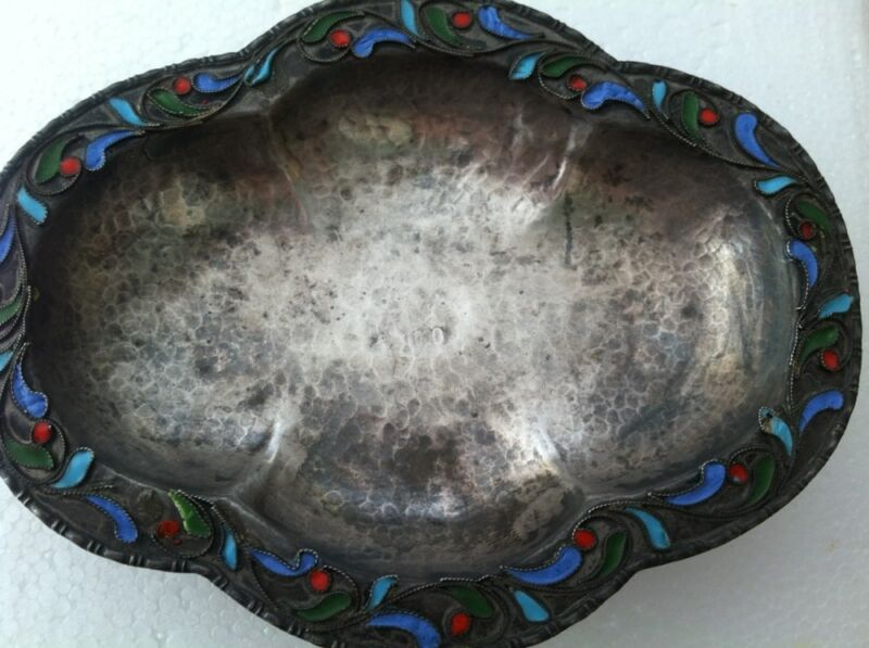 Vintage Small 1000 Silver Hand Hammered Cloisonne Enamel Footed Dish Bowl 4.25x3