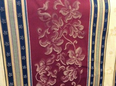5m Wine Gold Navy Damask Stripe Fabric Curtains FREE POSTAGE