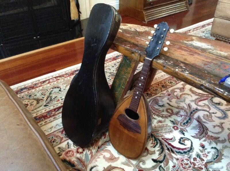 Antique Mandolin With Wooden Storage Case
