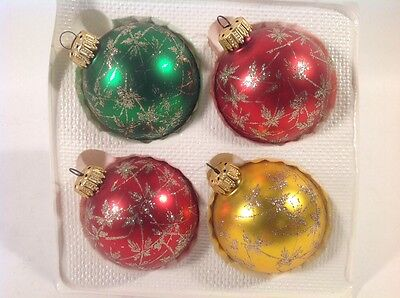 4 Vintage Hand Made Glitter Christmas Glass Ornaments West Germany Krebs 2-1/2""