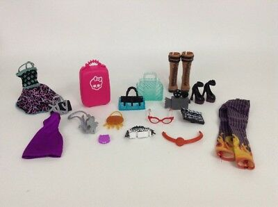 LOT (19 Pc) Mattel Monster High Doll Toy Accessories Clothing Shoes & Purses