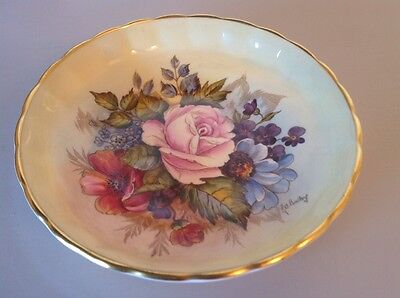 RARE Aynsley Roses & Poppies round Shallow Dish 14.5cm Signed J A Bailey RARE.