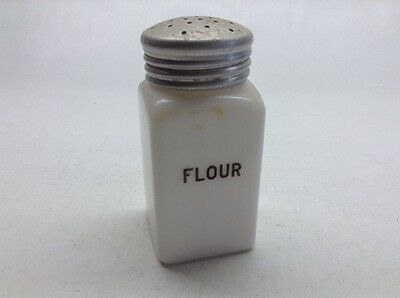 Vintage Milk Glass Flour Shaker Black Print