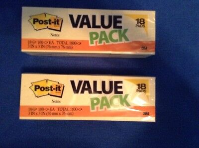 Lot Of 2post-it Notes 3 In X 3 In Canary Yellow 18 Padspacktotal 3600 Notes