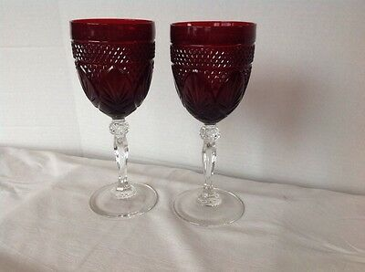 Set Of 2 Cris D'Arques Durand ANTIQUE RUBY Water Goblets 1854103