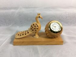 Desk Clock Wood w/ Gold Trim Peacock Hand Carved