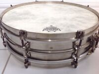 Vintage 1920s LUDWIG BLACK BEAUTY 4X14 Two Pieces NOB Snare Drum