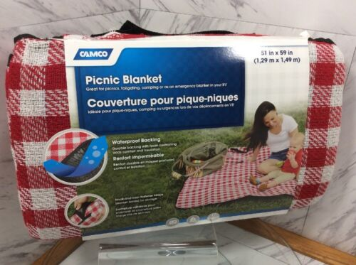 "Camco 51"" x 59"" Waterproof Picnic Blanket Red Checker Campin"