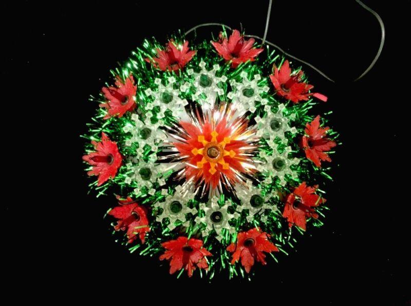 21 Light Christmas Tree Topper. Poinsettias. Very Pretty.