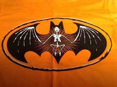 NEW Batman Halloween T-Shirt Boys Size XS L XL Orange Black Bat Skeleton Logo