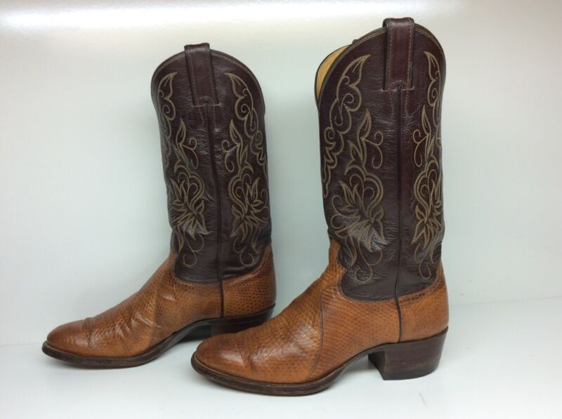 MENS, JUSTIN, COWBOY, LIZARD, SKIN, LEATHER, BROWN, BOOTS, SIZE, 8.5, D