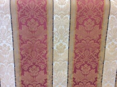 3.05m Terracotta Cream Gold Stripe Damask Flame Retardant Upholstery Fabric