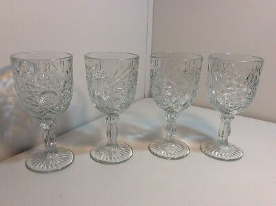 Set of 4 Libbey Star of David Wine Goblet Etched Thick Glass 10 Ounces NEW