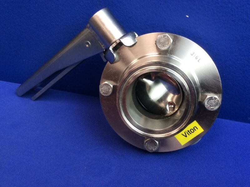 """WAUKESHA 316L STAINLESS STEEL BUTTERFLY VALVE, 2"""" TRI-CLAMP CONNECT"""