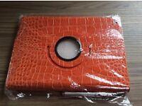 Ipad Air 2 Cover - Orange Crocodile Effect Leather