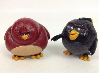 """Lot (2) Rovio/ Spin Master Angry Birds Toys Quality 2"""" Figures Bomb & Terrence"""