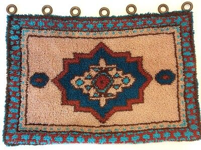 "VTG 1970s Decor Latch Hook Rug 38"" x 26"" Hippie Boho Handmade Wool Wall Hanging"