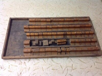 Antique Wood Printing Stamp Press Set Letter Alphabet Numbers Block Lotw Tray