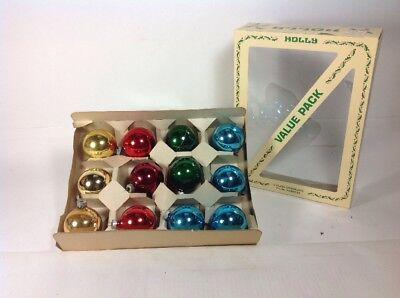 "12 Vintage SHINY BRITE 2"" Assorted Glass Ball Christmas Tree Ornaments & Box"