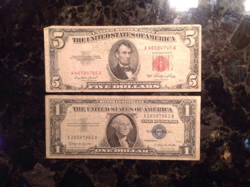 1953 $5 USN - Red Seal + 1957B $1 Silver Certificate - Blue Seal