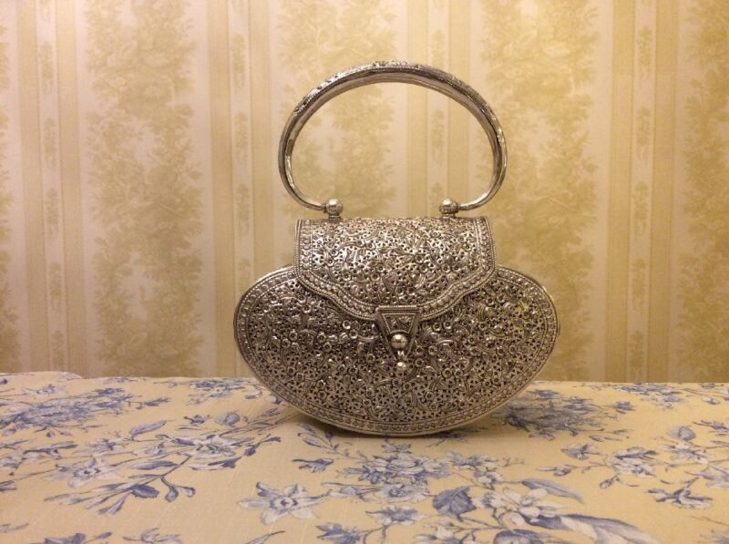 FILLIGREE FLORAL ENGRAVED PURSE HANDMADE 925 STERLING SILVER 430 GRAMS BRAND NEW