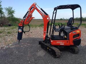 Compact Excavator With Hydraulic Hammer For Rent