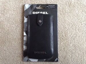DIESEL BLACK WHISPER UNIVERSAL LEATHER PHONE CASE IPHONE 4 5 6 X RRP£35 POUCH