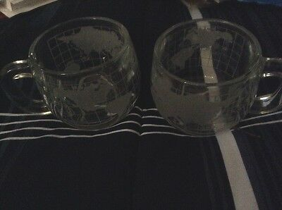 Set Of 2 Nestle Nescafe 1970's Coffee Mug Cup WORLD GLOBE Map Etched Glass