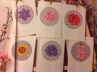 (D) Blackwork Flower Cards Rose Poppy Sunflower Cross Stitch Chart