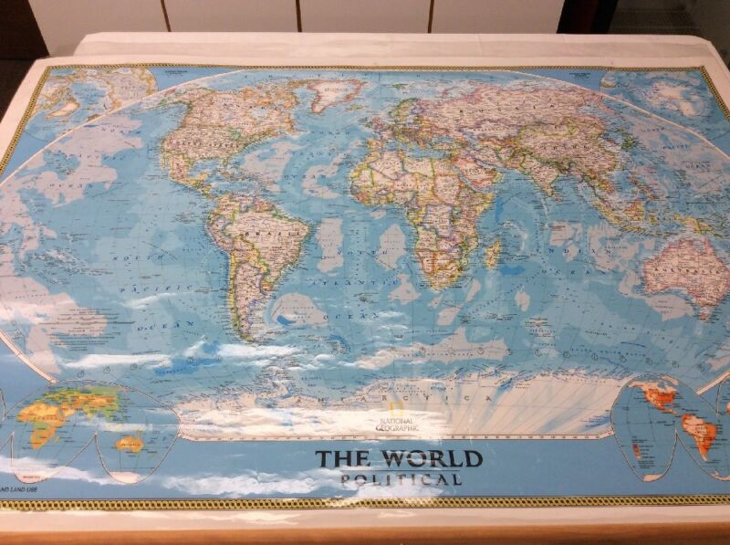HUGE Laminated National Geographic The World Physical Roll Up History Map 859S