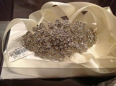 Wedding Dress Crystal Rhinestone Bling Ivory Ribbon Sash Belt Davids Bridal NWT