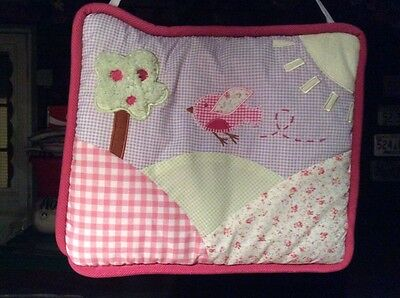 Clothes Tree Nursery Decor (BIRD AND TREE PINK CLOTH WALL HANGING FOR BABYS NURSERY. MEASURES 10.5