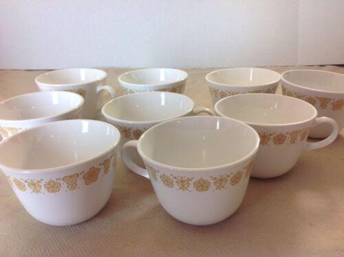 Corning Corelle Dinnerware BUTTERFLY GOLD pattern Set 9 Pyrex Cups GUC