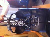 Black Leather and Chrome Draft Horse Show Harness
