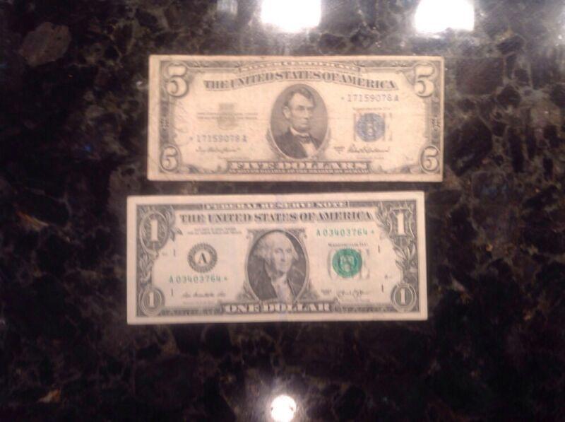 1953 A $5 Silver Certificate - STAR NOTE  + 2013  $1 FRN - Boston - STAR NOTE