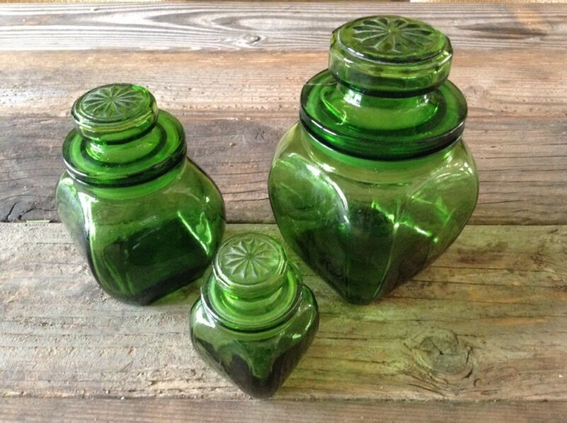 VINTAGE SET 3 WHEATON N. J. GREEN SUNFLOWER Stars Depression Glass CANISTERS