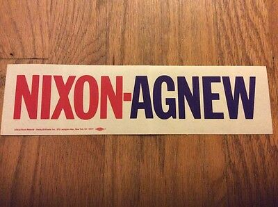 Official President Richard Nixon & Vice President Spiro Agnew Bumper Sticker