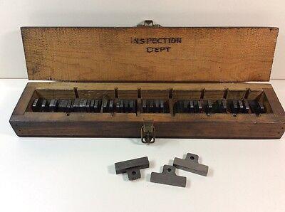 Vintage Block Gage Gauge Set Rectangle Wood Box