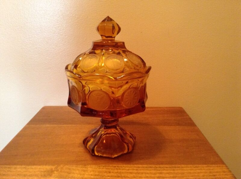 Vintage amber Fostoria coin dot candy dish compote with lid