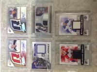 Hockey cards jersey pieces & autographs