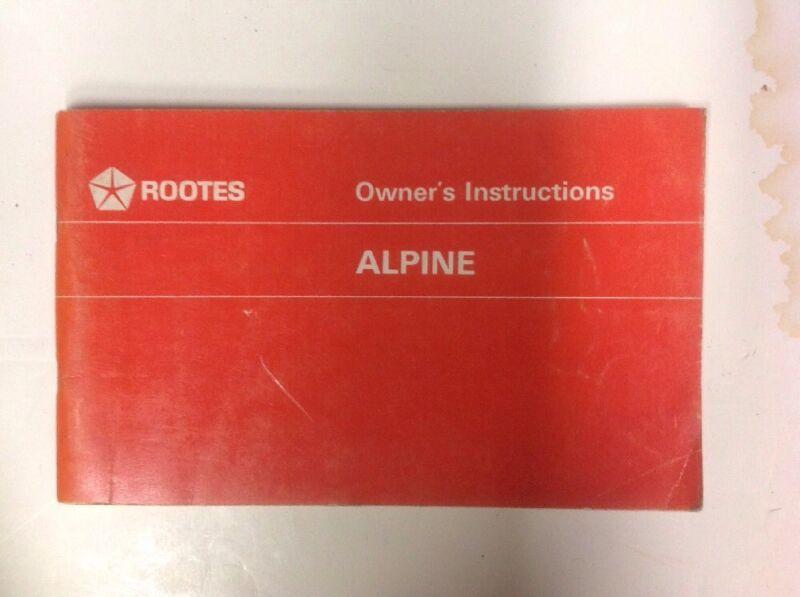NOS Rootes Sunbeam Alpine GT Owners Handbook