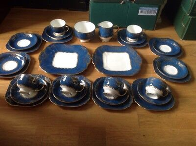 Stunning & Rare Samuel Radford Of Fenton ( 30 Piece Tea Set Blue & Gold )