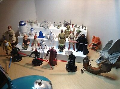 "LOT of 30+ miscellaneous STAR WARS LOT 4"" Figures Metal Ships Hero Clix, etc"