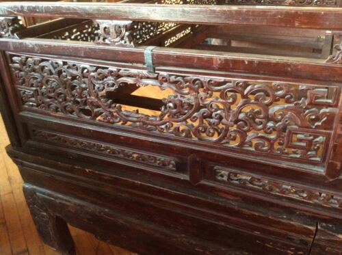 Antique Intricately Carved Wooden Chinese Wedding Bed Missing Canopy #7901