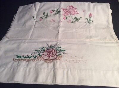 Two Stamped Cross Stitch Pillow Cases- Incomplete Projects