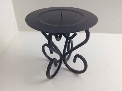 Black Wrought Iron 4 Footed Scrolled Pillar Candle Holder 6.5