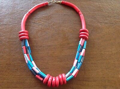 """Vintage Wooden Beaded Chunky Funky 80s Fashion Jewelry Necklace 23"""" Colorful"""