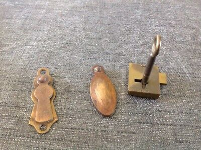 Two Antique Brass Lock Escutcheons 50x22 & 60x22mm With One Double Lock And Key